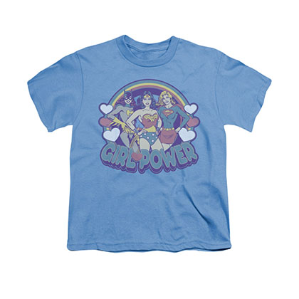 Wonder Woman Retro Girl Power Blue Youth Unisex T-Shirt