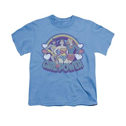 Wonder Woman Retro Girl Power Blue Youth Unisex T-Shirt
