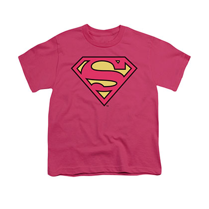 Superman Classic Logo Pink Youth Unisex T-Shirt