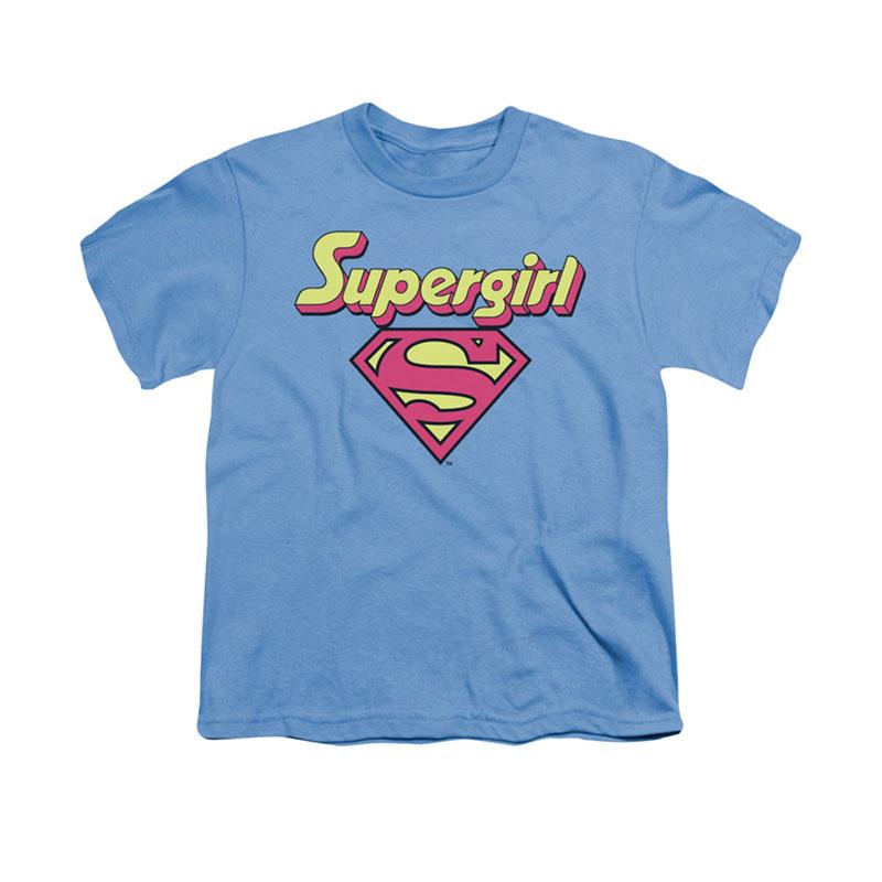 Superman Supergirl Logo Blue Youth Unisex T-Shirt