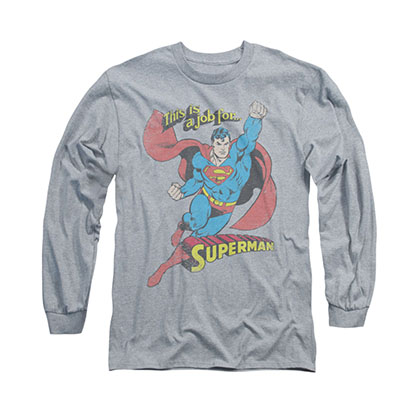 Superman On The Job Gray Long Sleeve T-Shirt