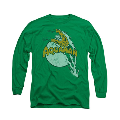 Aquaman Splash Green Long Sleeve T-Shirt