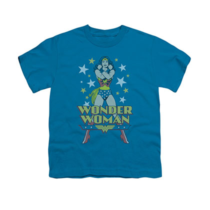 Wonder Woman Crossed Arms Blue Youth Unisex T-Shirt
