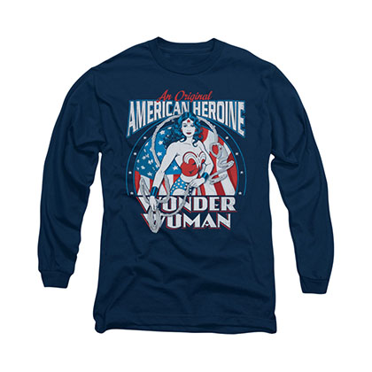 Wonder Woman American Heroine Blue Long Sleeve T-Shirt
