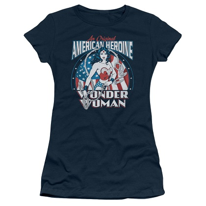 Wonder Woman American Heroine Women's Blue Tshirt