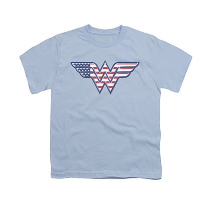 Wonder Woman American Flag Logo Blue Youth Unisex T-Shirt