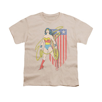Wonder Woman USA Banner Beige Youth Unisex T-Shirt