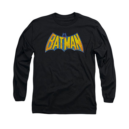 Batman Neon Distress Logo Black Long Sleeve T-Shirt