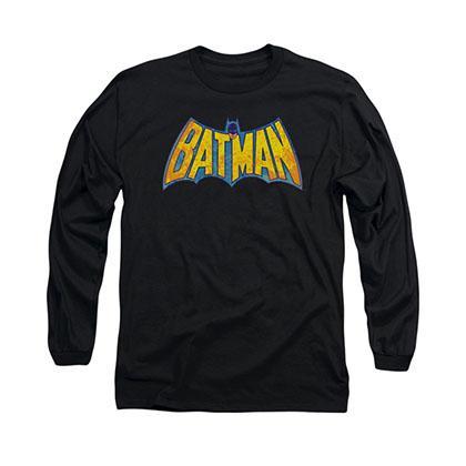 Batman Neon Distress Logo Black Long Sleeve T-Shirt