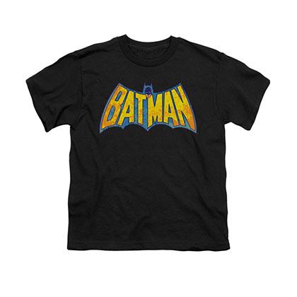 Batman Neon Distressed Logo Black Youth Unisex T-Shirt