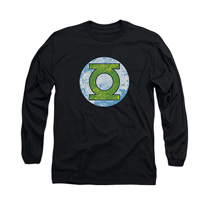 Green Lantern Neon Distress Logo Black Long Sleeve T-Shirt
