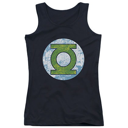Green Lantern Neon Logo Black Juniors Tank Top