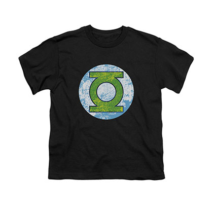 Green Lantern Neon Distressed Logo Black Youth Unisex T-Shirt