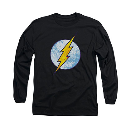 The Flash Neon Distress Logo Black Long Sleeve T-Shirt