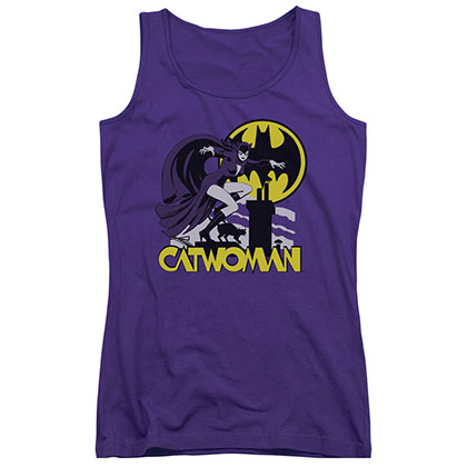 Batman Catwoman Rooftop Purple Juniors Tank Top