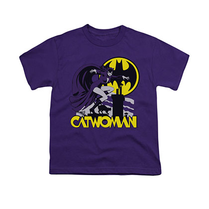 Batman Catwoman Rooftop Purple Youth Unisex T-Shirt