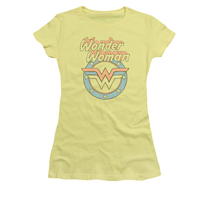 Wonder Woman Retro Faded Logo Yellow Juniors T-Shirt