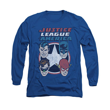 Justice League Four Stars Blue Long Sleeve T-Shirt
