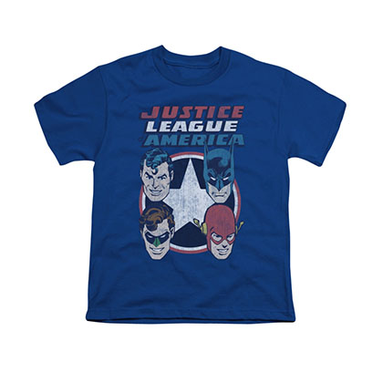 Justice League 4 Stars Blue Youth Unisex T-Shirt