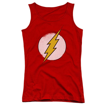 The Flash Distressed Logo Red Juniors Tank Top