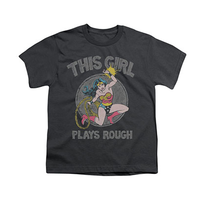 Wonder Woman Plays Rough Gray Youth Unisex T-Shirt