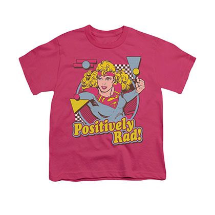 Superman Supergirl Positively Rad Pink Youth Unisex T-Shirt
