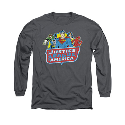 Justice League 8-Bit Gray Long Sleeve T-Shirt