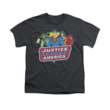 Justice League 8-Bit Gray Youth Unisex T-Shirt