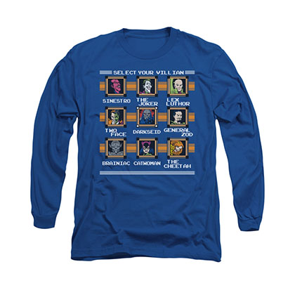 DC Comics Villains Stage Select Blue Long Sleeve T-Shirt