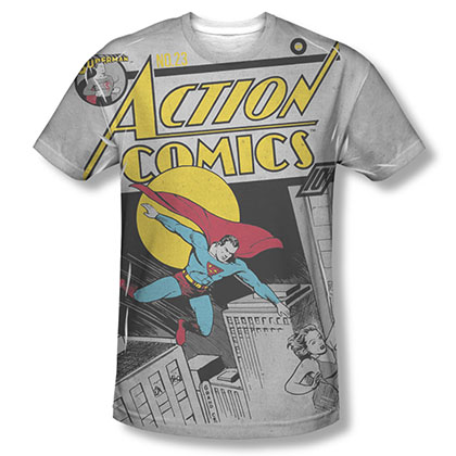 Superman Action Comics Sublimation Gray T-Shirt