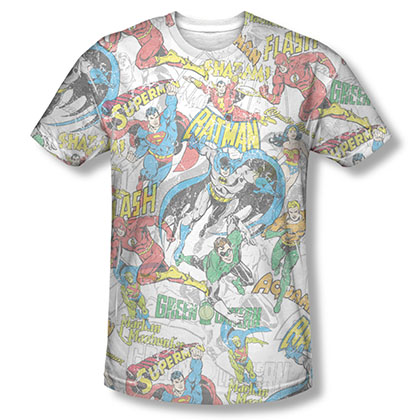 Justice League Super Collage Sublimation White Tee Shirt