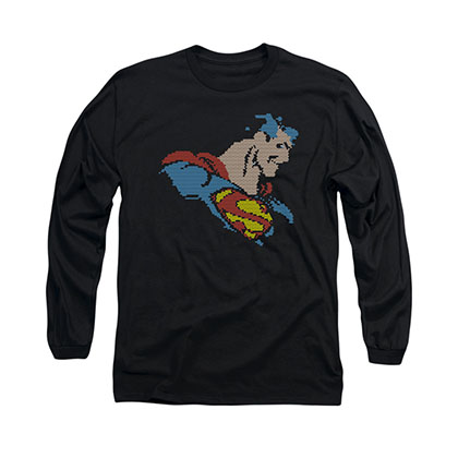 Superman Lite Brite Black Long Sleeve T-Shirt