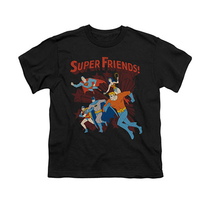 Justice League Super Friends Black Youth Unisex T-Shirt