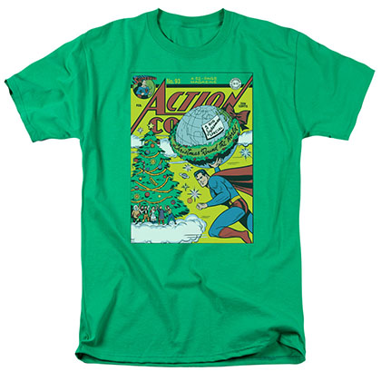 Superman Christmas Around The World Green T-Shirt
