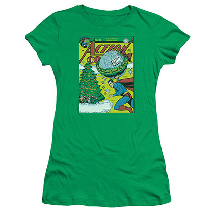 Superman Christmas Round The World Green Juniors T-Shirt