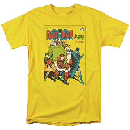 Batman Seasons Greetings Christmas Yellow T-Shirt