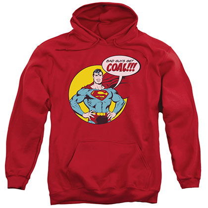 Superman Bad Guys Get Coal Christmas Red Pullover Hoodie