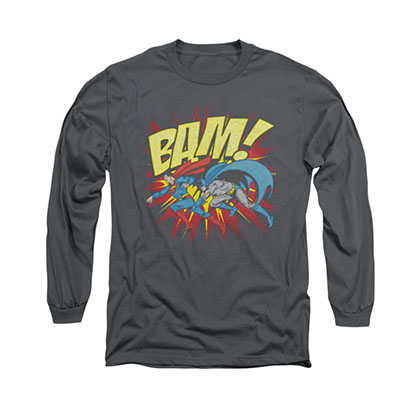 Superman Batman Bam Gray Long Sleeve T-Shirt