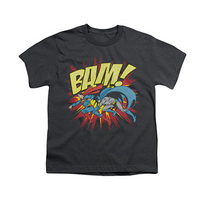 Batman Superman Bam Gray Youth Unisex T-Shirt