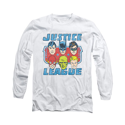 Justice League Face Of Justice White Long Sleeve T-Shirt