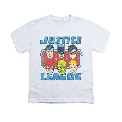 Justice League Faces White Youth Unisex T-Shirt