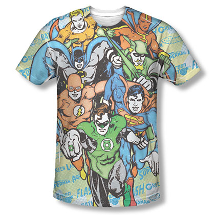 Justice League Men's Sublimation Follow The Leader Tee Shirt