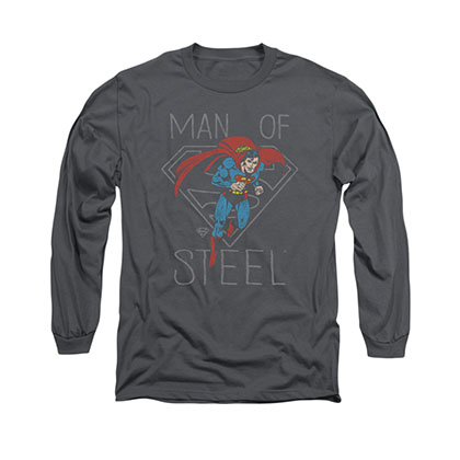Superman Hardened Heart Gray Long Sleeve T-Shirt