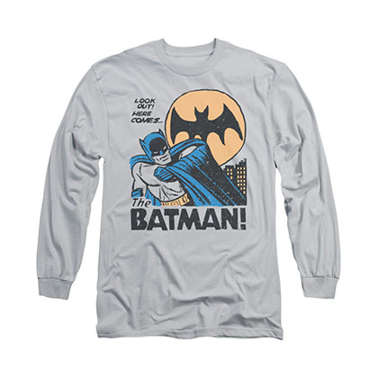 Batman Look Out Gray Long Sleeve T-Shirt