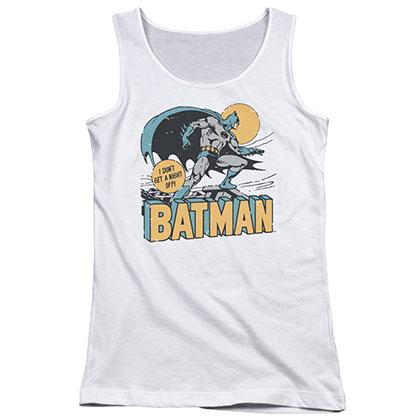 Batman Night Off White Juniors Tank Top