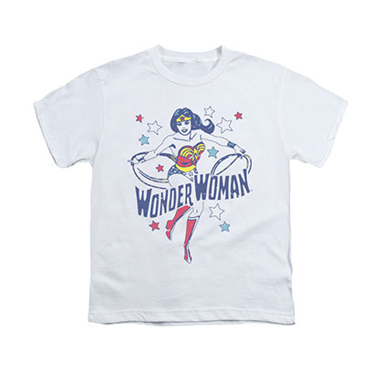 Wonder Woman Stars White Youth Unisex T-Shirt