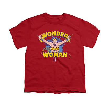 Wonder Woman Flying Through Red Youth Unisex T-Shirt