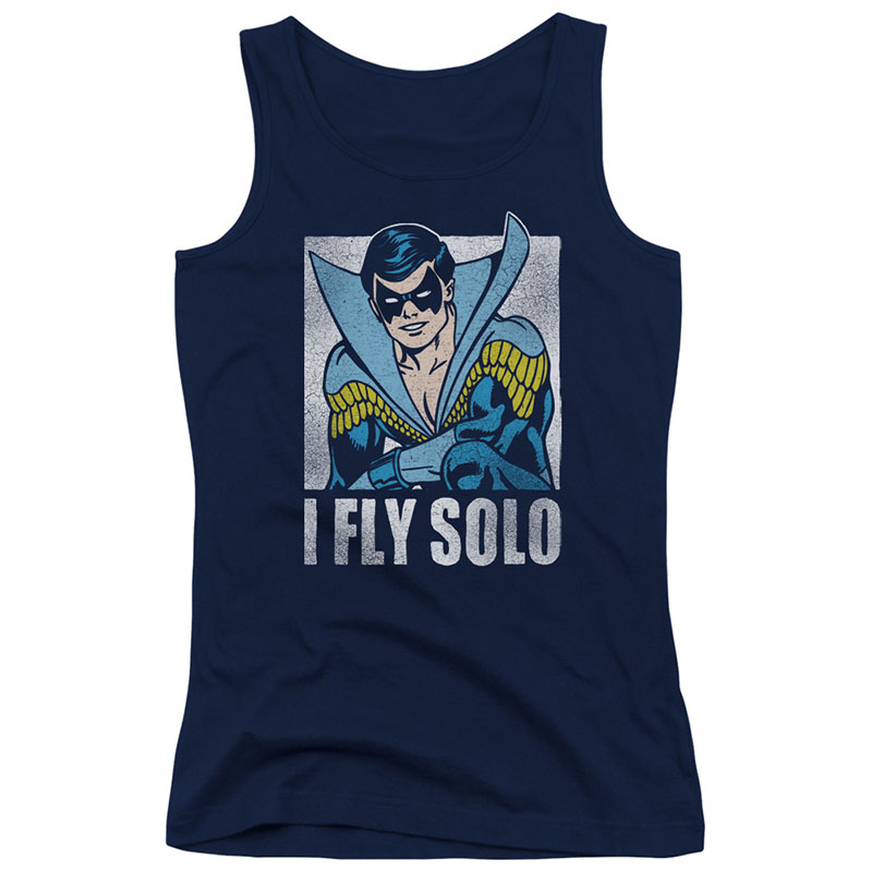 Nightwing I Fly Solo Blue Juniors Tank Top
