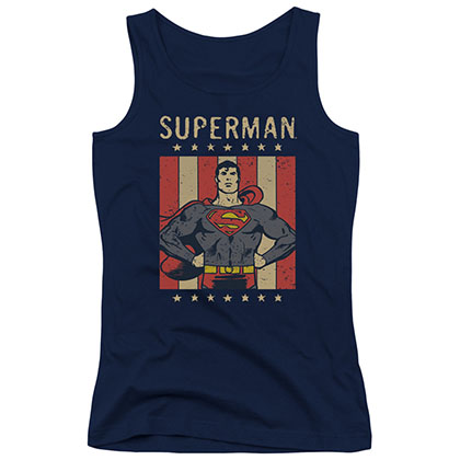 Superman Retro Liberty Blue Juniors Tank Top
