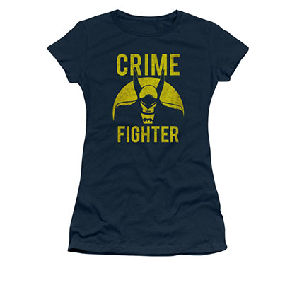 Batman Crime Fighter Blue Juniors Tee Shirt